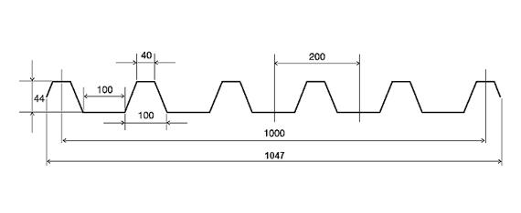 Профнастил С44 0,4 окрашенный RAL