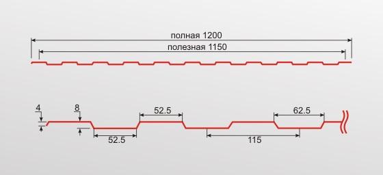 Профнастил С8 0,35 окрашенный RAL