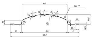 Евроштакетник ПОЛУКРУГ с завальцованными краями  128 мм